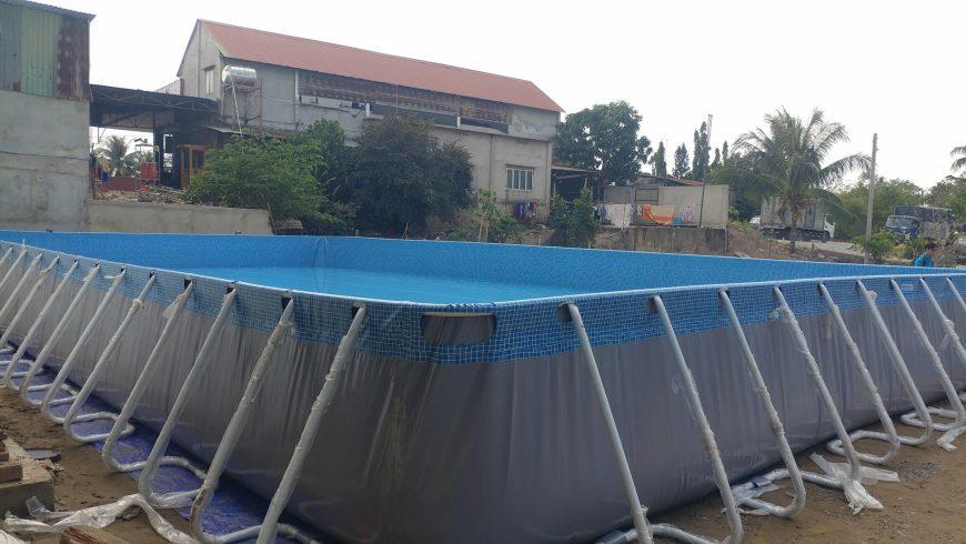 Bàn giao công trình hồ bơi khung kim loại và nhà hơi tại Củ Chi